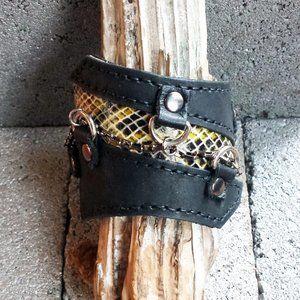 Black & Snakeskin Print Leather Cuff Bracelet